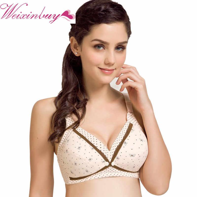 91228a047 Maternity Wire Free Nursing Bra Nursing Bras Feeding For Pregnant Women  Flower Lace Underwear Front Closure