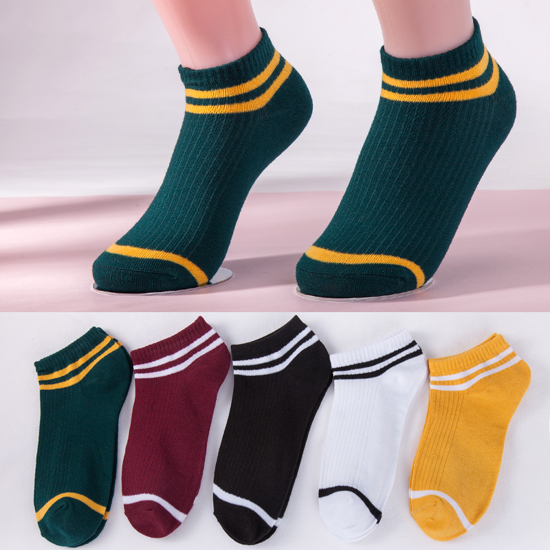 5 Colors Women Socks Girls Double Stripe Boat Socks Fashion Lady Spring And Summer Short Casual Ankle Socks New Dropshipping