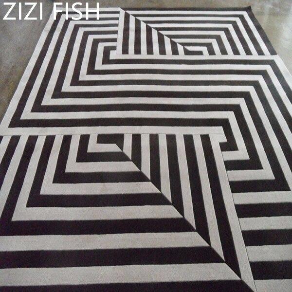 Tapis acrylique noir et blanc Alfombras Tapete tapis tapis pour un salon moderne tapis et tapis Alfombras de sala