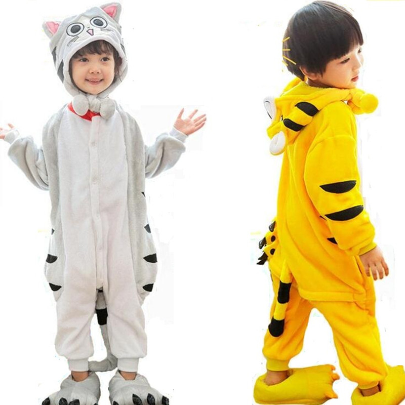 top design prix raisonnable les plus récents € 16.57 10% de réduction|Enfants garçons filles fromage chat tigre cosplay  pyjamas combinaison costume Animal onesies pyjamas enfants KID vêtements de  ...