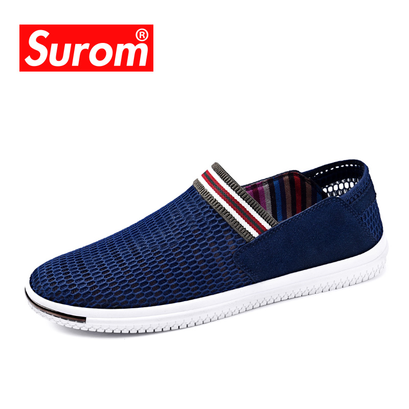 SUROM Fashion Summer Shoes Breathable Mesh Men's Casual Shoes Luxury Brand Moccasins Men Loafers Slip on Soft Sole Driving Shoes summer casual shoes men loafers comfortable slip on flat shoes breathable canvas shoes fashion solid soft light driving footwear