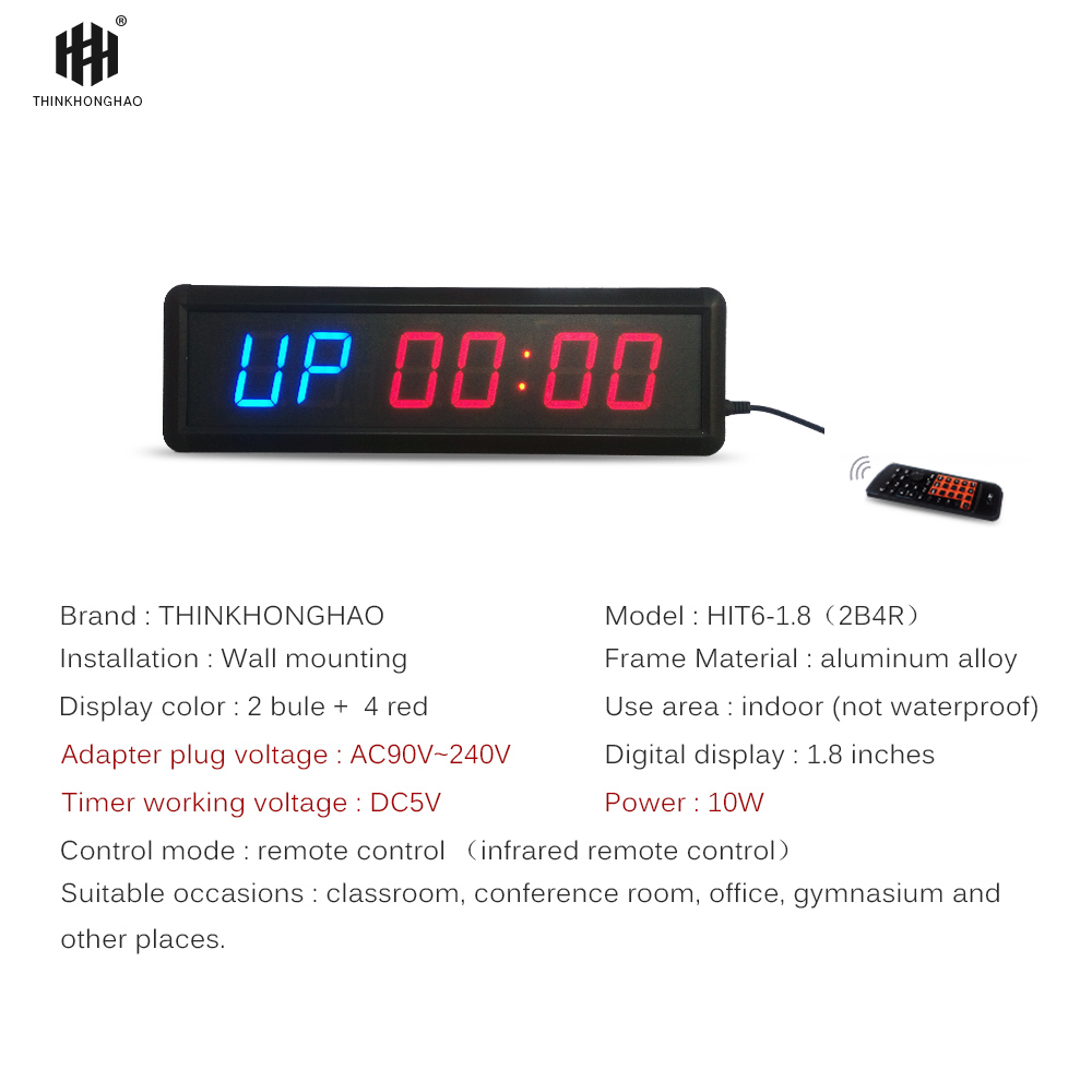 große muti-funktion führte fitness timer uhr 1,8 zoll höhe charakter mit stoppuhr