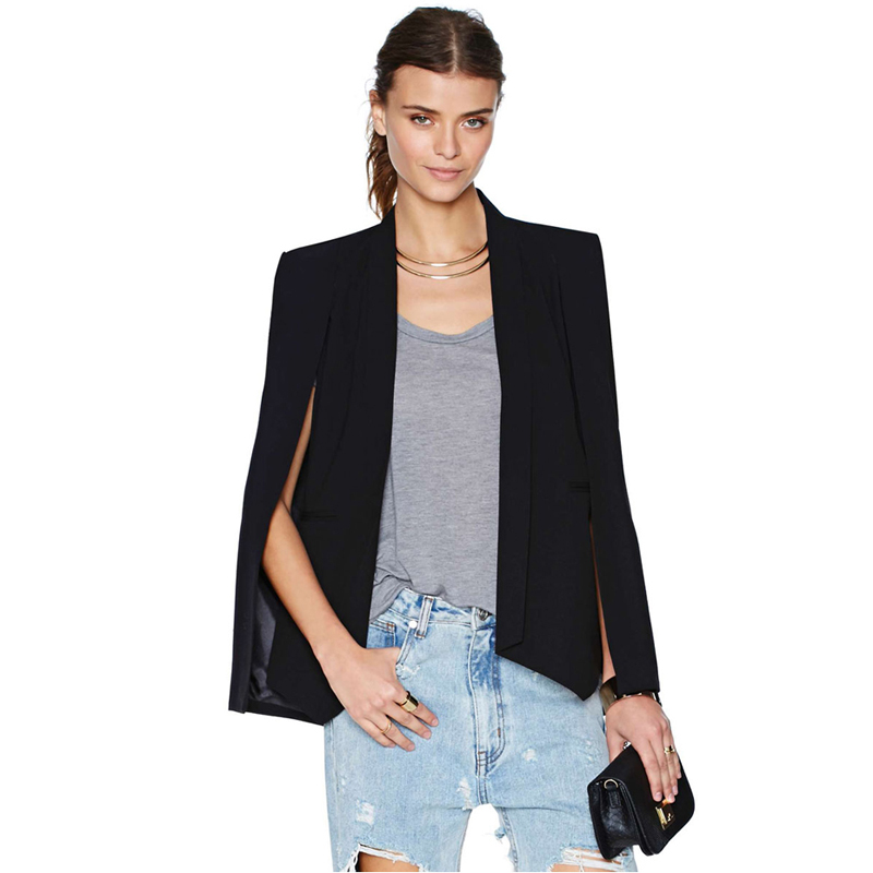 Fashion Cloak Cape Blazer Women Coat White Black Lapel Split Long Sleeve Pockets Solid Casual Suit Jacket Workwear