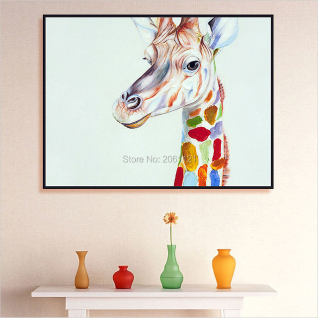 Hand Painted Home Decor Wall Art Picture Cute Kid Animal Oil Painting Cartoon Giraffe Canvas