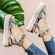 3ab2c0c07a (Ship from US) KLV Brand Ladies Sandals Shoes Womens Open Toe Ankle Pumps  Straw Thick Bottom Shoes Snake Grain Roman Sandals chaussures femme