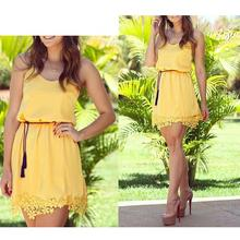 EAS Yellow Summer Women Tropical Dress Strap Lace Sleeveless Mini Slim Casual Dresses