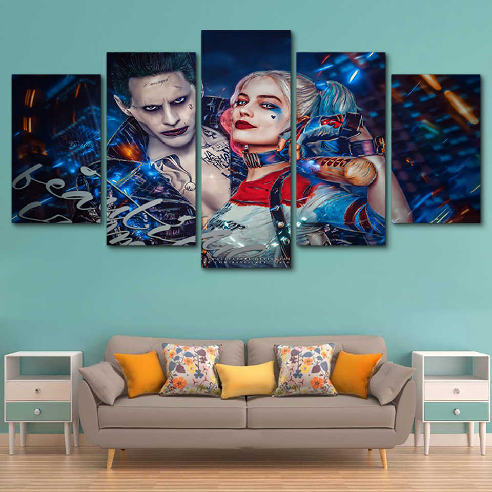Poster Framework Pictures Home Canvas Painting 5 Panel Suicide Squad Joker HD Printed Modern Wall Art Modular Decor Living Room