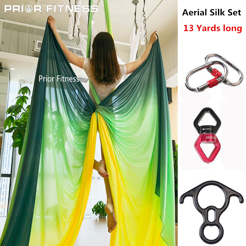 2019 13Yards 12M Aerial Silk Set High Quality Gradational Colors Aerial Yoga Anti gravity for yoga