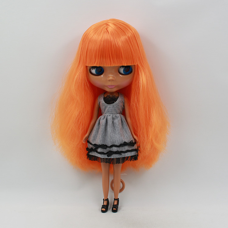 Mini Cute Neo Blyth Nude Doll baby Orange Straight Long Hair Black BLYTH Dolls For Girls Gifts nude doll for series no 230bl2250 orange red hair black skin