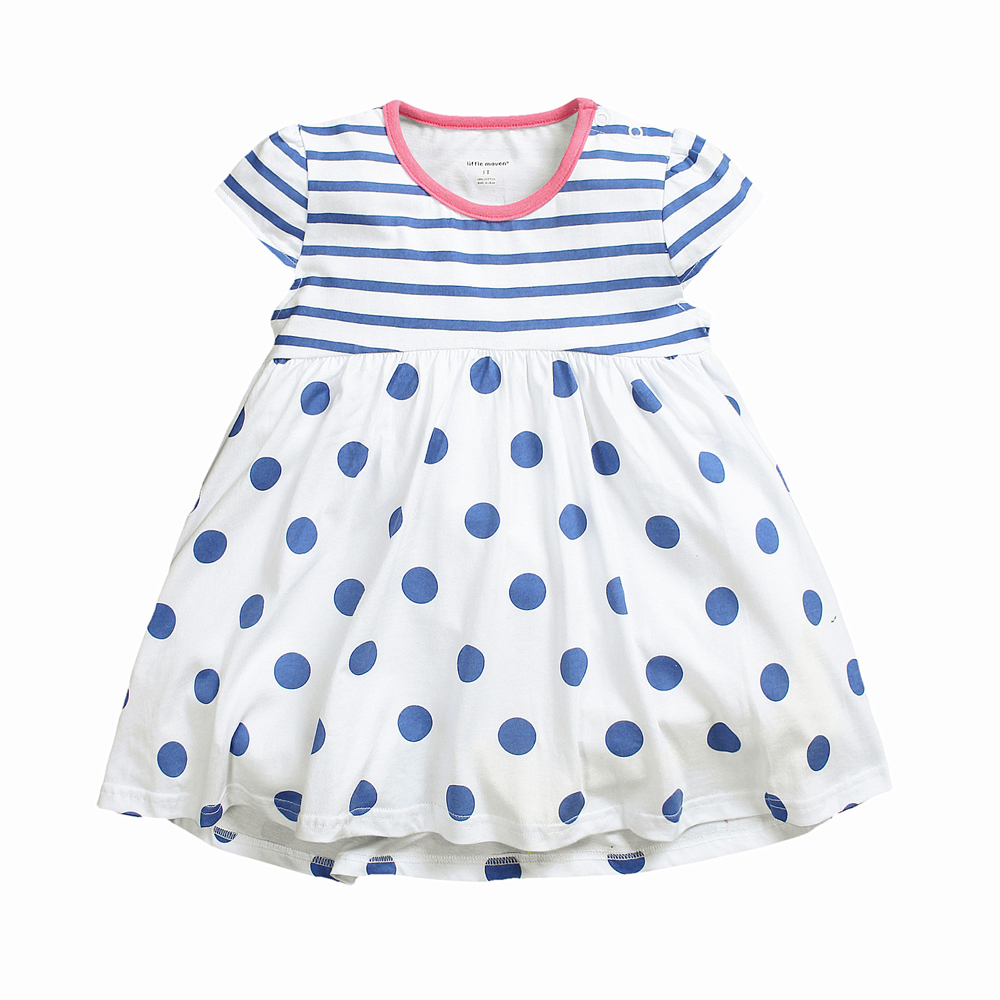 18M-6T Baby Girl Dress Blue Dot And Stripe Printed Summer Dress 100% Cotton High Quality Girl Clothes