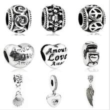 Btuamb Punk Tibet Silver Color Love Heart Angle Wings Flower Pendant Charm Beads Fit Original Pandora Bangle Making Jewelry Gift(China)