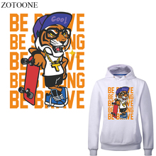 ZOTOONE Iron on Tiger Patches Applications for Clothes DIY T-shirt Applique Heat Transfer Vinyl Stickers Clothing Press