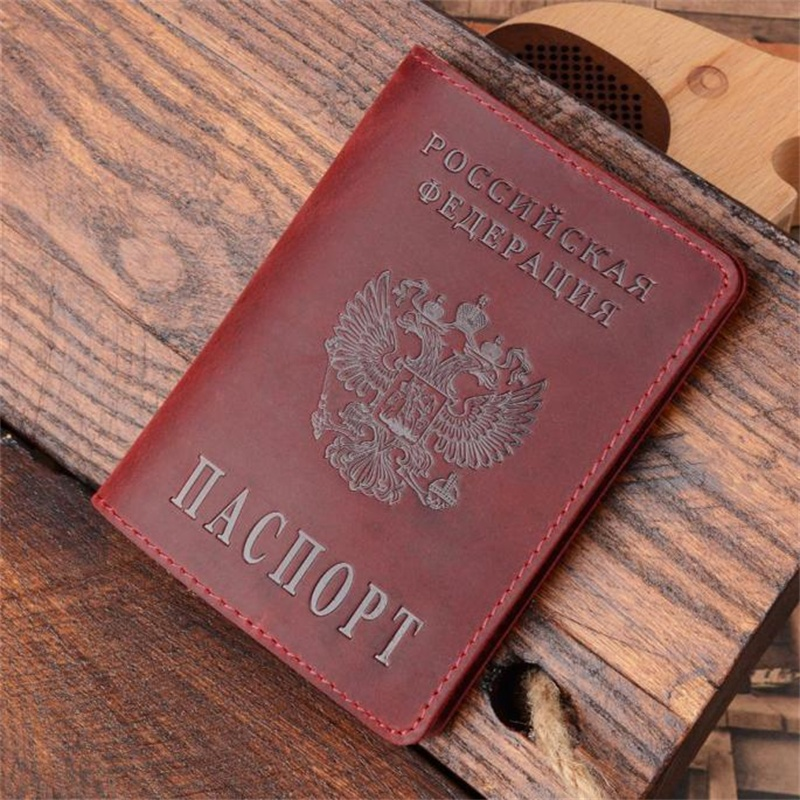 High Quality Genuine Leather Passport Cover For Russia Solid ID&Credit Card Holder Business Passport Case Unisex Travel Case