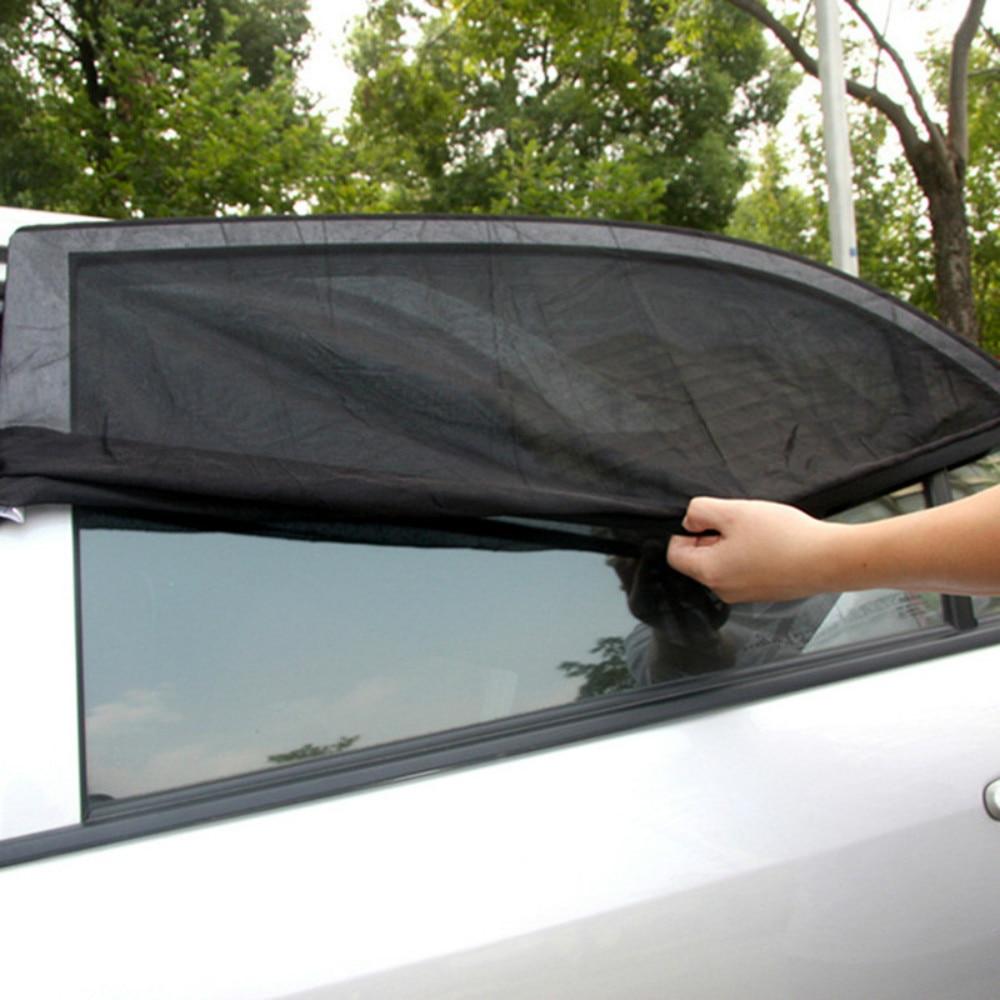 2Pcs 110*50 ซม.หน้าต่าง Sun Shade ตาข่ายสีดำเด็ก UV Protector SHIELD สำหรับรถยนต์ส่วนใหญ่ด้านหลังรถ Side Sun Shade