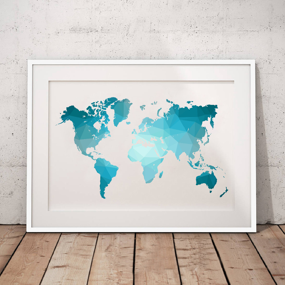 US $2.66 20% OFF|Blue World Map Made of Triangles Canvas Art Print Poster ,  Low Poly Map of World Canvas Painting Pictures Home Living Room Decor-in ...