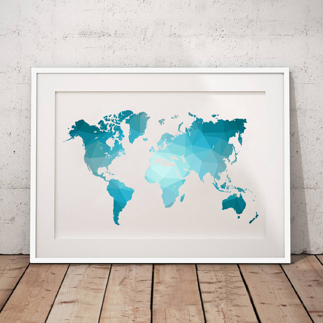 blue world map made of triangles canvas art print poster low poly map of world