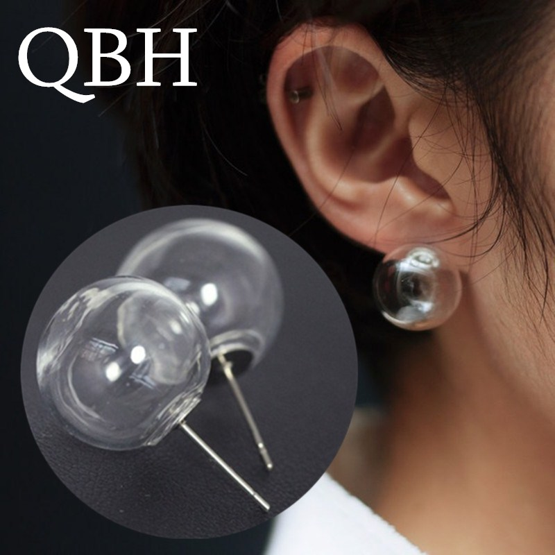 EK964 New Fashion Bubble Transparent Glass Ball Stud Earrings For Women Brincos Pendientes Mujer Boucle Bijoux Jewelry Girl Gift