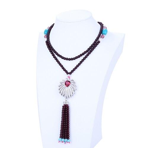 New Design Natural Stone Garnet Gemstone Loose Beads Sweater chain Necklace Jewelry 1 Strand 46cm 66.7g Beautiful Beads