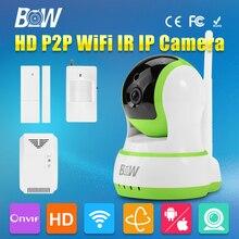 P/T HD Cámara IP WiFi 720 P 3.6mm Endoscopio Lente de Seguridad IR-Cut p2p onvif con puerta y infrarrojos motion sensor y el detector de gas