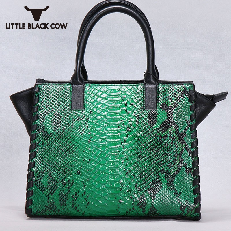 New Arrival Ladies Genuine Leather Handbags Vintage Snakeskin Female Shoulder Bag Designer Luxury Women Handbags Crossbody Bags new arrival leather handbags women fashion phone bag female storage wallets