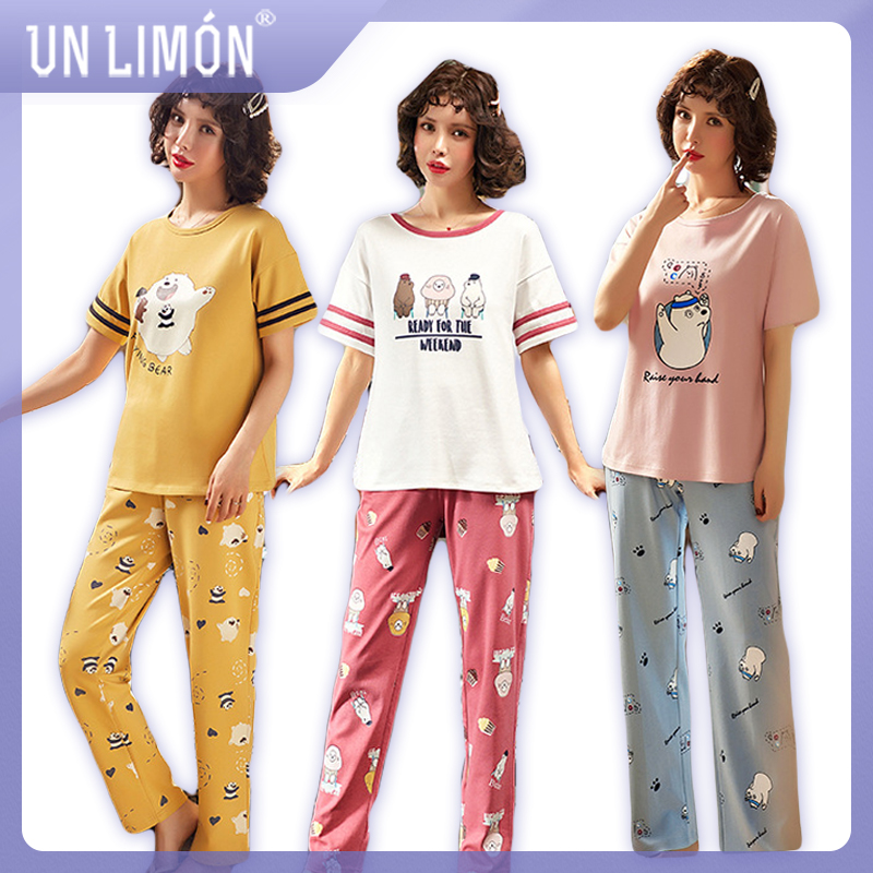 UNLIMON Women Cotton Pajamas Korean Fashion Sleepwear Sets Short Sleeve Long Pants(China)