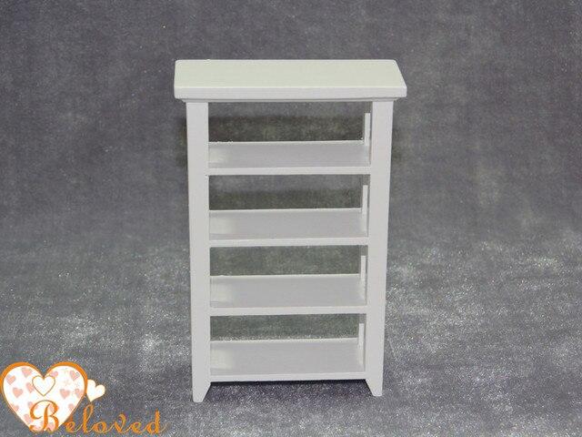 112 schaal miniatuur boekenkast met 4 lagen display plank poppenhuis meubels houten poppenhuis kits