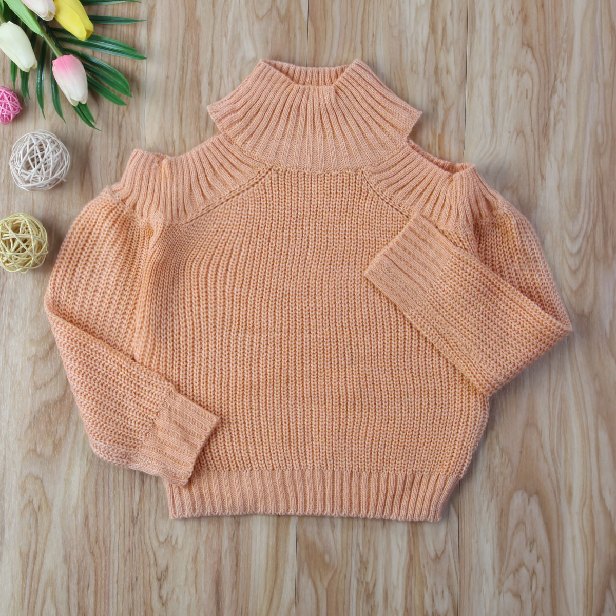 2018 fashion Family Matching Outfit sweaters Mom Baby cold shoulder Long Sleeve Knitwear Jumper Sweater Pullover Family Clothes