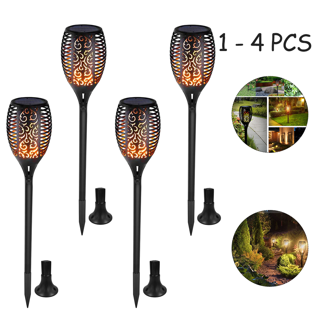 1/2/4pcs Solar Flame Lamp Flickering Outdoor IP65 Waterproof Landscape Yard Garden Light Path Lighting Torch Light