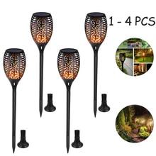 1/2/4pcs Solar Flame Lamp Flickering Outdoor IP65 Waterproof Landscape Yard Garden Light Path Lighting Torch Light