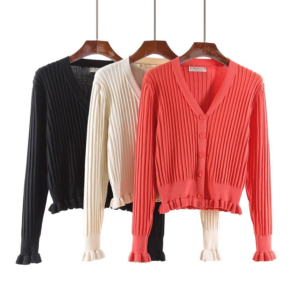 Korean Kniting Ruffled V-Neck Sweater Cardigan Spring Sueter Feminino  Poleras Mujer Blusas De Inverno Feminina Women's Clothing