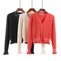 Coreano kniting ruffled v-neck camisola primavera cardigan sueter feminino poleras mujer blusas de inverno feminina roupas das mulheres