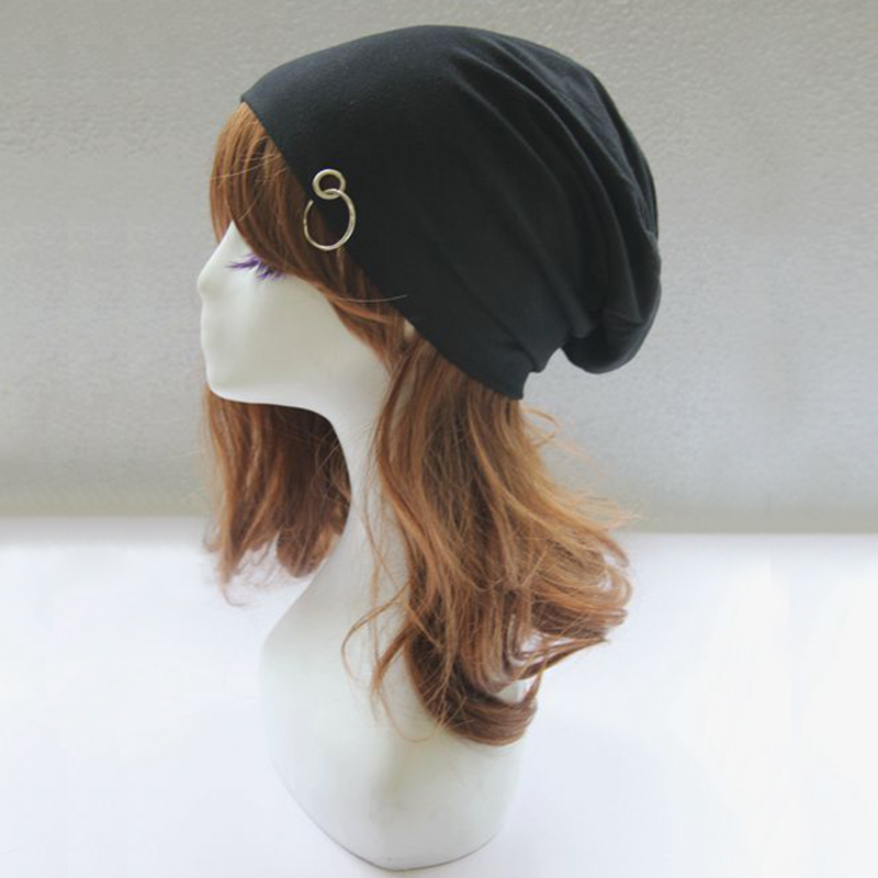 BONJEAN New Solid Women new Style Ring Cap Hat Iron Hoop hip hop Beanies Hat Slouch Baggy Autumn Spring Winter Punk Hat women artist beret cap french style autumn