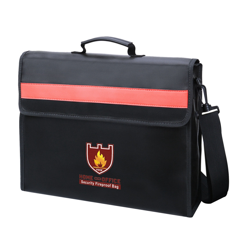 Fireproof Document Bag Non-Itchy Fiberglass Cloth Waterproof Holder With Shoulder Strap Handle Bag