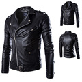 Free PP! Mens Retro Style Zipped Biker Jacket Real Leather PU leather jacket men coat XXL plus