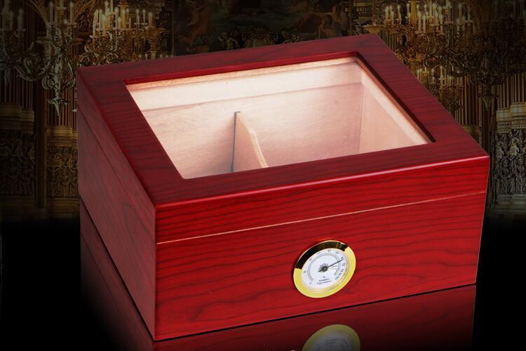 Classic Spain Cedar Piano Finish Humidor Cigar cabinet w/Hygrometer&Humidifier embedded 1 5 lcd digital hygrometer thermometer for cigar humidor white 2 x ag13
