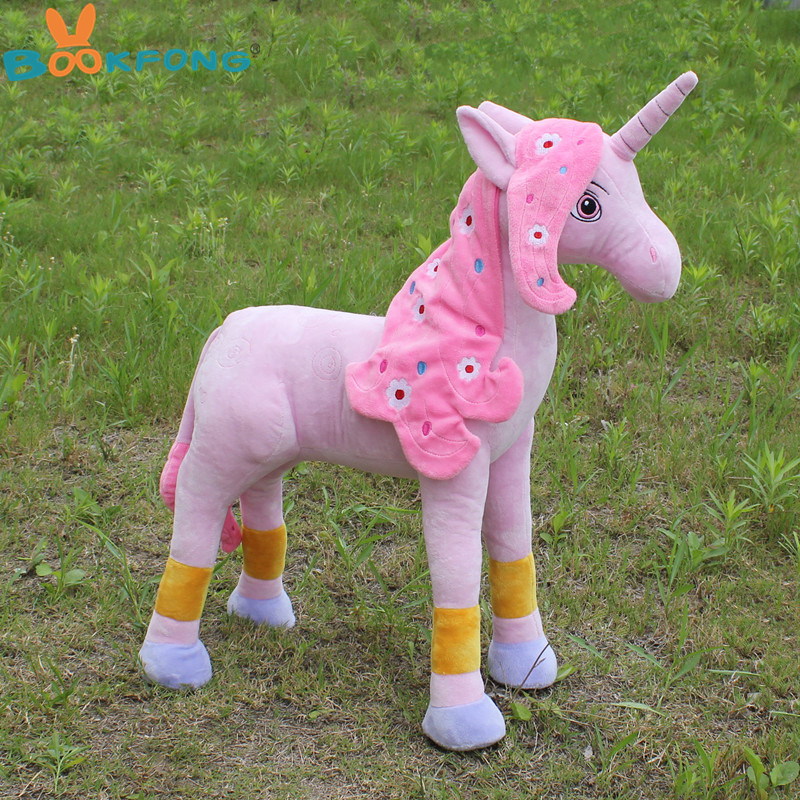 Mia and Me Toys 55CM Large Pink Unicorn Plush Toy Cute Cartoon Stuffed Animal Unicorn Horse Gifts for Girls Children mism 1pc cute kids girls newborn lace sunflower elastic headband flora hollow lace hair band satin flower hair accessories