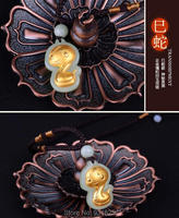 Natural HeTian Yu 100% Pure Solid 18 Gold Chinese Zodiac Snake Blessing Lucky Pendant Necklace + Certificate Fine Jewelry