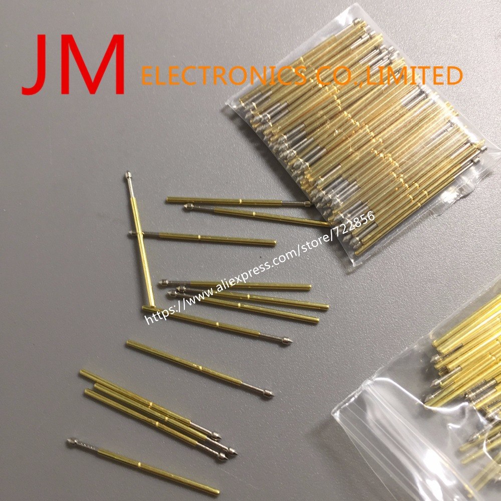 100Pcs Pm75-E2 1.28Mm Convex Tip 1Mm Barrel Dia 27.9Mm Length Metal Spring Testing Probe Pin For Pcb Test Fixture 100 x p111 v 1 3mm dia 4 point crown tip spring test probe