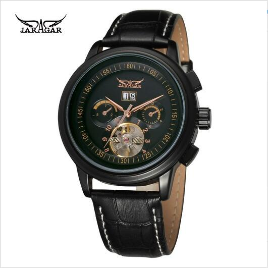 Jaragar Luxury Tourbillon Black Stainless Steel Case Brown Leather Band Date Auto Mechanical Mens Dress Wrist WatchJaragar Luxury Tourbillon Black Stainless Steel Case Brown Leather Band Date Auto Mechanical Mens Dress Wrist Watch