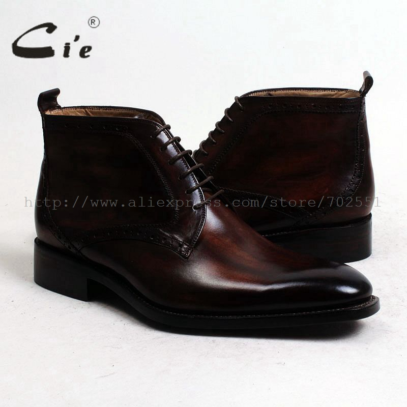 Image 5 - cie round plain toe100%genuine calf leather boot patina brown handmade outsole leather lacing men boot  mens ankle boot  A97boots menboots bootsboots brown -