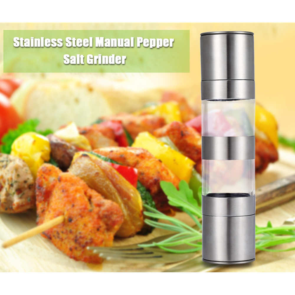 Stainless Steel Electric Pepper Salt Mill Grinder with Adjustable Fineness Kitchen Cooking Accessory for Restaurant Hotel Home