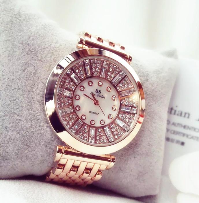 Prix pour Mode Femmes Montres Rose D'or de luxe marque genève Diamant Femmes Strass Montres Lady Robe Montres sport relogio féminin