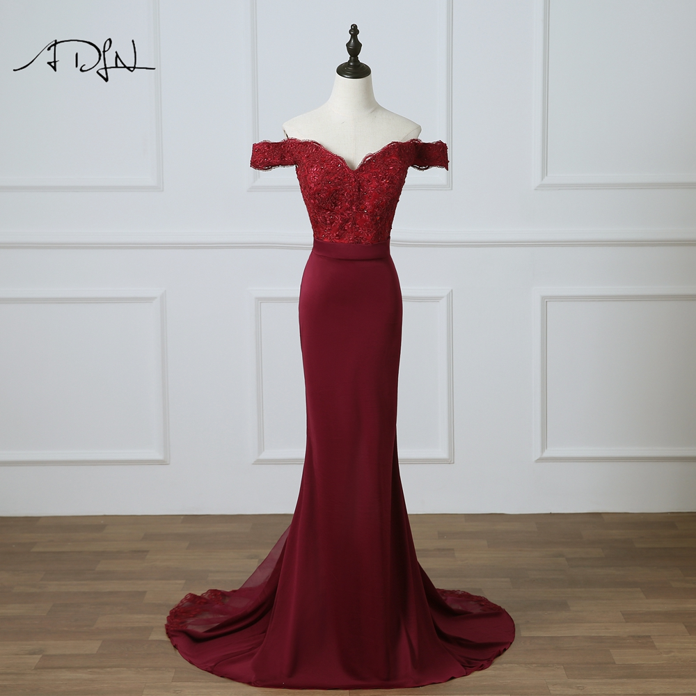 ADLN Hot Sale Mermaid Bridesmaid Dress With Beads Off-the-shoulder Burgundy Long Party Gown  Robe De Demoiselle D'honneur