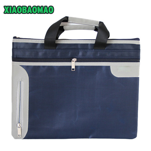 Thicken! Commercial Business Document Bag A4 Tote file folder Filing Meeting Bags Side Zipper Pocket office bags protable canvas commercial business document bag a4 tote