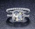 Роскошные Качества Синтетического Алмаза 3 Карат Подушка Cut Свадьба Обручальное Кольцо Набор Для Женщин, Свадебный Комплект
