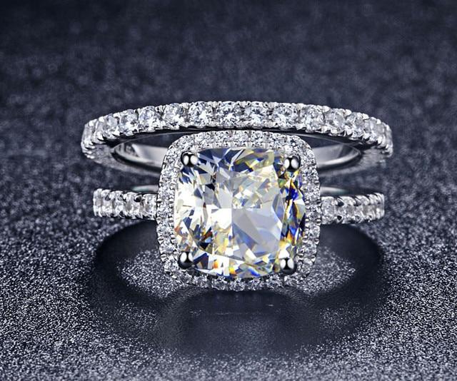 luxury quality nscd synthetic gem 3 carat cushion cut engagement wedding ring set for women - 3 Carat Wedding Ring