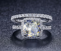 Luxury Quality Synthetic Diamond 3 Carat Cushion Cut Engagement Wedding Ring Set For Women,Bridal Set