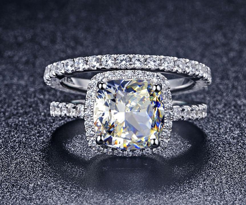 Qualidade de luxo Gem 3 Carat Cushion Cut NSCD Sintético Anel de Noivado Casamento Set For Women, Set Nupcial
