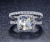 Luxury Quality Synthetic Diamond 3 Carat Cushion Cut Engagement Wedding Ring Set For Women Bridal Set