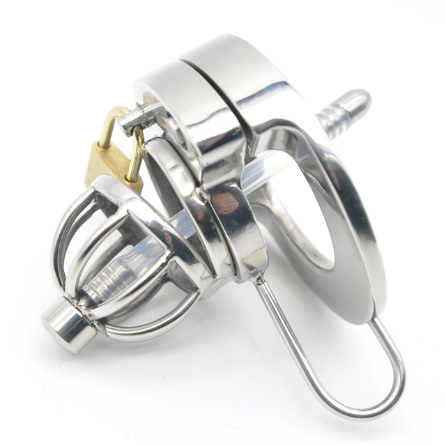 Double Lock Stainless Steel Male Chastity Device Urethral Catheter Cock Cage Penis Lock Cock Ring Chastity Belt A289